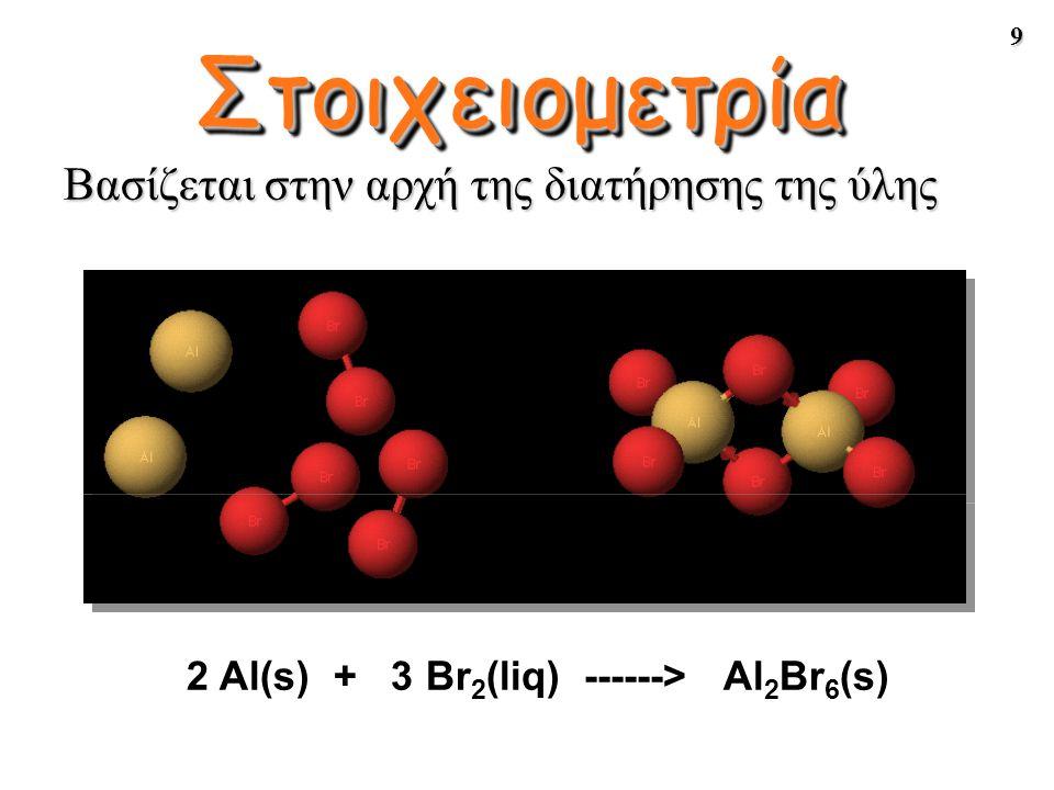 9 Βασίζεται στην αρχή της διατήρησης της ύλης 2 Al(s) + 3 Br 2 (liq) ------> Al 2 Br 6 (s) Στοιχειομετρία
