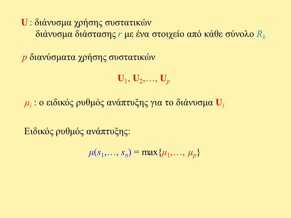 U : διάνυσμα χρήσης συστατικών διάνυσμα διάστασης r με ένα στοιχείο από κάθε σύνολο R k p διανύσματα χρήσης συστατικών U 1, U 2,…, U p μ i : ο ειδικός