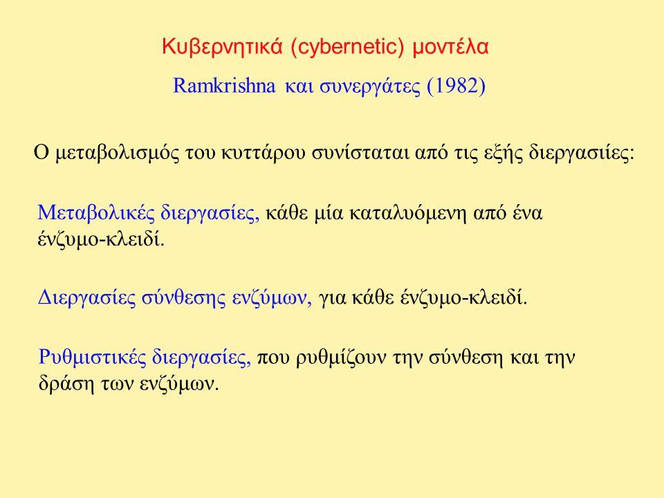 Κυβερνητικά (cybernetic) μοντέλα Ramkrishna και συνεργάτες (1982) Ο μεταβολισμός του κυττάρου συνίσταται από τις εξής διεργασιίες: Μεταβολικές διεργασ
