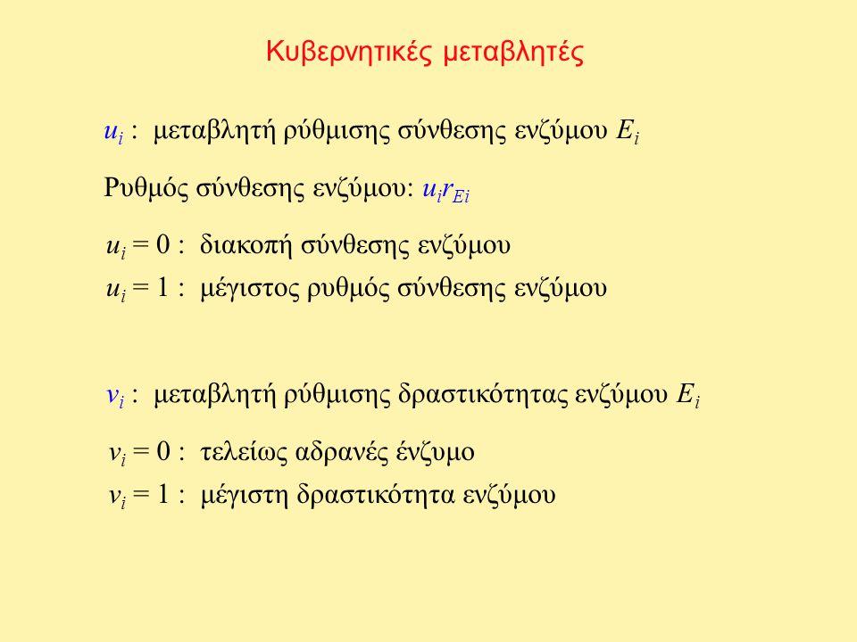 Κυβερνητικές μεταβλητές u i : μεταβλητή ρύθμισης σύνθεσης ενζύμου E i Ρυθμός σύνθεσης ενζύμου: u i r Ei u i = 0 : διακοπή σύνθεσης ενζύμου u i = 1 : μ