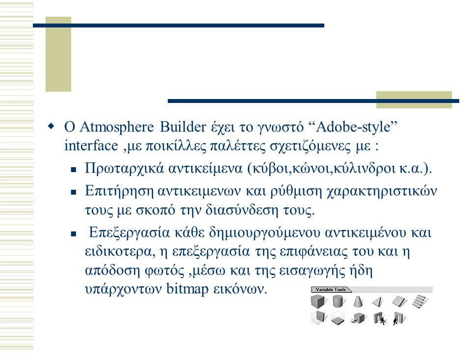 """ Ο Atmosphere Builder έχει το γνωστό """"Adobe-style"""" interface,με ποικίλλες παλέττες σχετιζόμενες με : Πρωταρχικά αντικείμενα (κύβοι,κώνοι,κύλινδροι κ."""