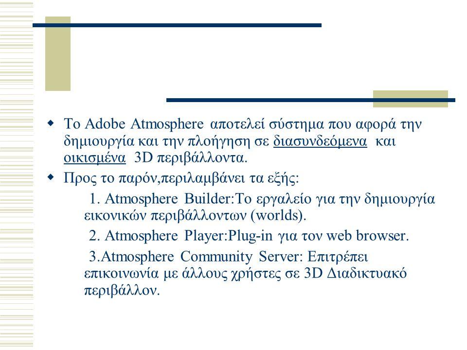  Το Adobe Atmosphere αποτελεί σύστημα που αφορά την δημιουργία και την πλοήγηση σε διασυνδεόμενα και οικισμένα 3D περιβάλλοντα.  Προς το παρόν,περιλ