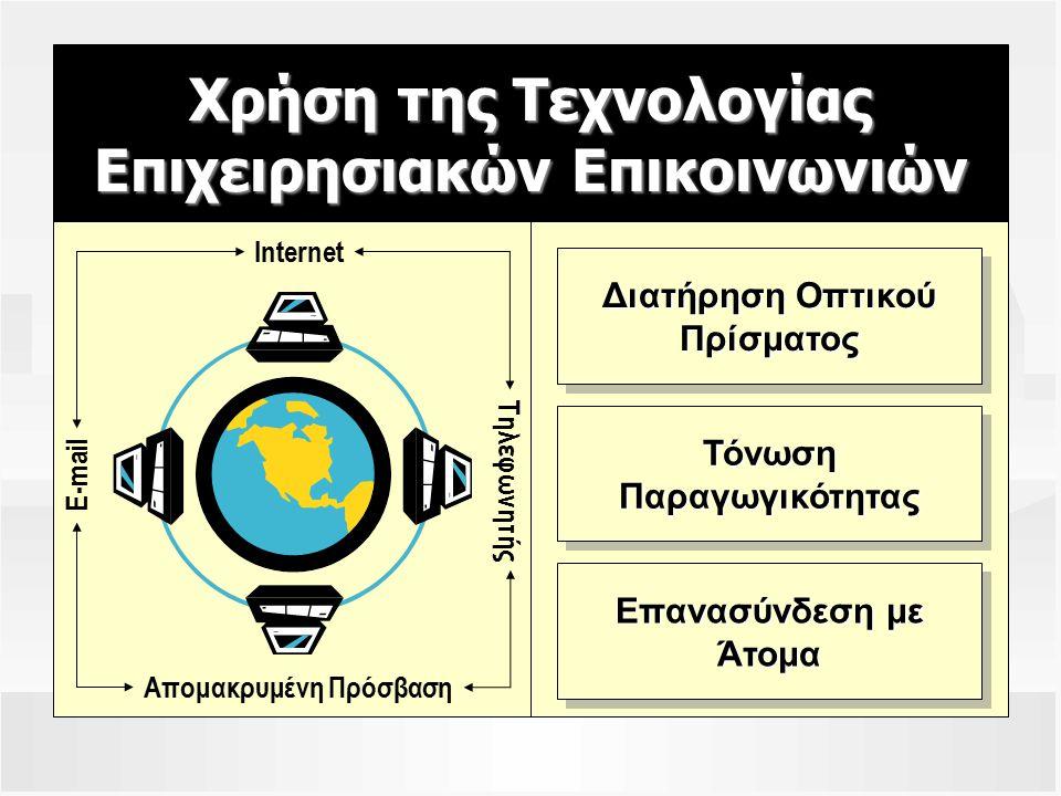 Χρήση της Τεχνολογίας Επιχειρησιακών Επικοινωνιών Internet E-mail Απομακρυμένη Πρόσβαση Τηλεφωνητής Διατήρηση Οπτικού Πρίσματος Πρίσματος ΤόνωσηΠαραγωγικότηταςΤόνωσηΠαραγωγικότητας Επανασύνδεση με Άτομα Άτομα