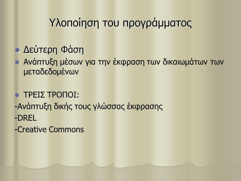 Υλοποίηση του προγράμματος Δεύτερη Φάση Δεύτερη Φάση Ανάπτυξη μέσων για την έκφραση των δικαιωμάτων των μεταδεδομένων ΤΡΕΙΣ ΤΡΟΠΟΙ: -Ανάπτυξη δικής τους γλώσσας έκφρασης -DREL -Creative Commons