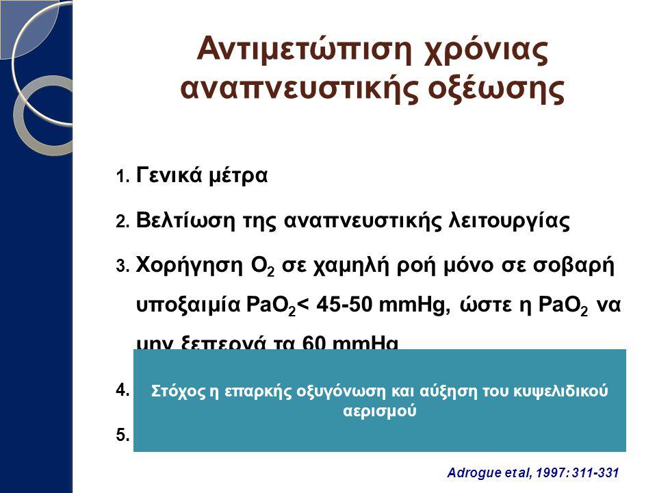 Αντιμετώπιση χρόνιας αναπνευστικής οξέωσης 1. Γενικά μέτρα 2. Βελτίωση της αναπνευστικής λειτουργίας 3. Χορήγηση O 2 σε χαμηλή ροή μόνο σε σοβαρή υποξ