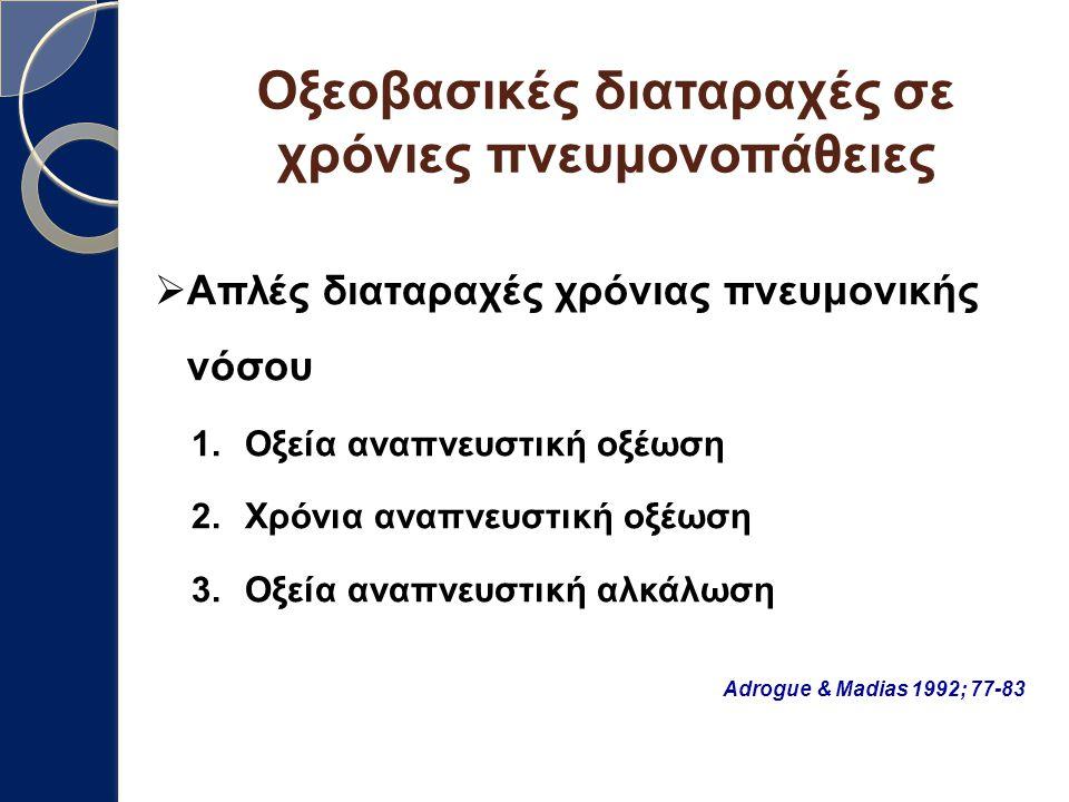 Οξεοβασικές διαταραχές σε χρόνιες πνευμονοπάθειες  Απλές διαταραχές χρόνιας πνευμονικής νόσου 1.Οξεία αναπνευστική οξέωση 2.Χρόνια αναπνευστική οξέωσ