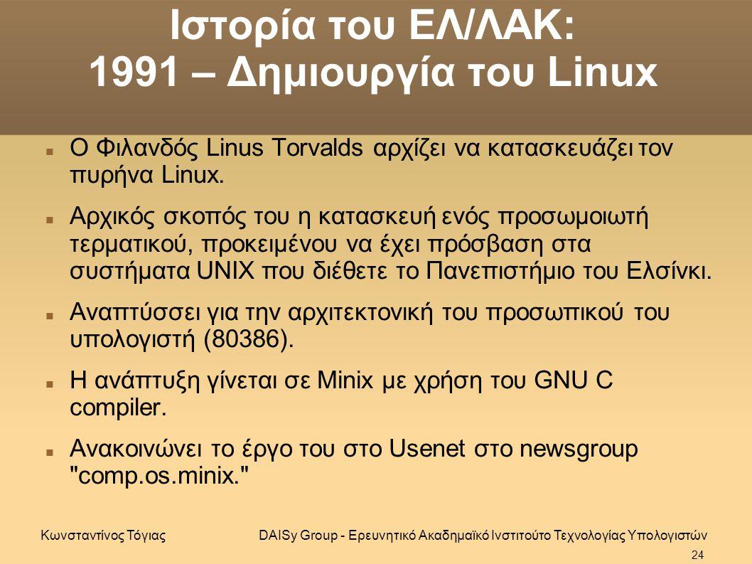 Ιστορία του ΕΛ/ΛΑΚ: 1991 – Δημιουργία του Linux Ο Φιλανδός Linus Torvalds αρχίζει να κατασκευάζει τον πυρήνα Linux.