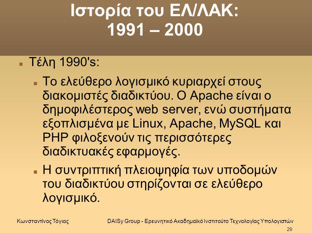Ιστορία του ΕΛ/ΛΑΚ: 1991 – 2000 Τέλη 1990 s: Το ελεύθερο λογισμικό κυριαρχεί στους διακομιστές διαδικτύου.