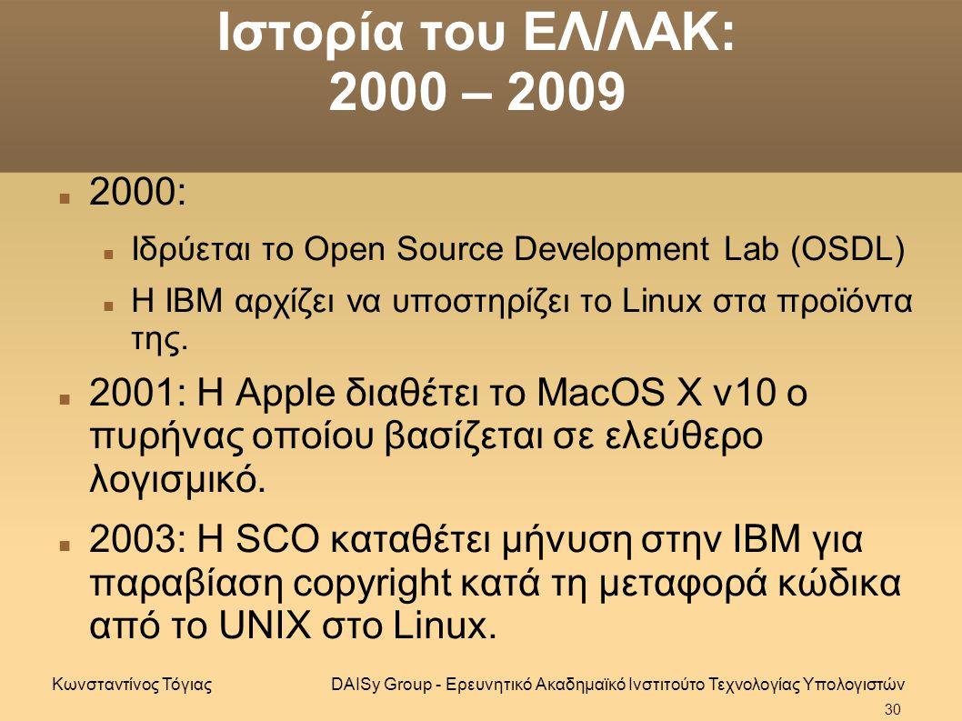 Ιστορία του ΕΛ/ΛΑΚ: 2000 – 2009 2000: Ιδρύεται το Open Source Development Lab (OSDL) Η ΙΒΜ αρχίζει να υποστηρίζει το Linux στα προϊόντα της.