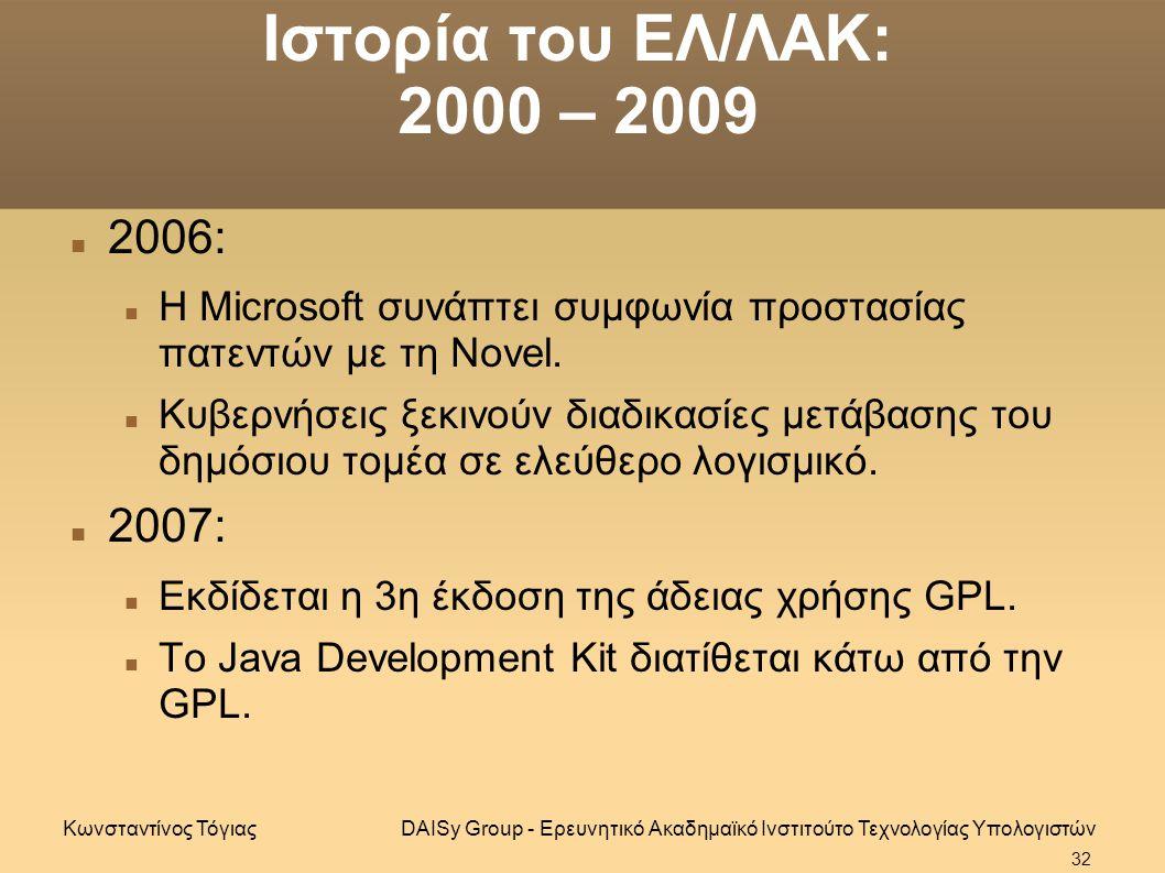 Ιστορία του ΕΛ/ΛΑΚ: 2000 – 2009 2006: Η Microsoft συνάπτει συμφωνία προστασίας πατεντών με τη Novel.