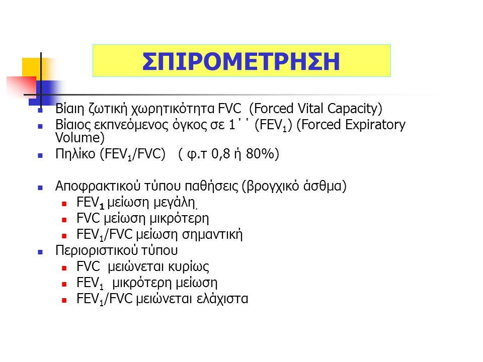 Βίαιη ζωτική χωρητικότητα FVC (Forced Vital Capacity) Βίαιος εκπνεόμενος όγκος σε 1΄΄ (FEV 1 ) (Forced Expiratory Volume) Πηλίκο (FEV 1 /FVC) ( φ.τ 0,8 ή 80%) Αποφρακτικού τύπου παθήσεις (βρογχικό άσθμα) FEV 1 μείωση μεγάλη.