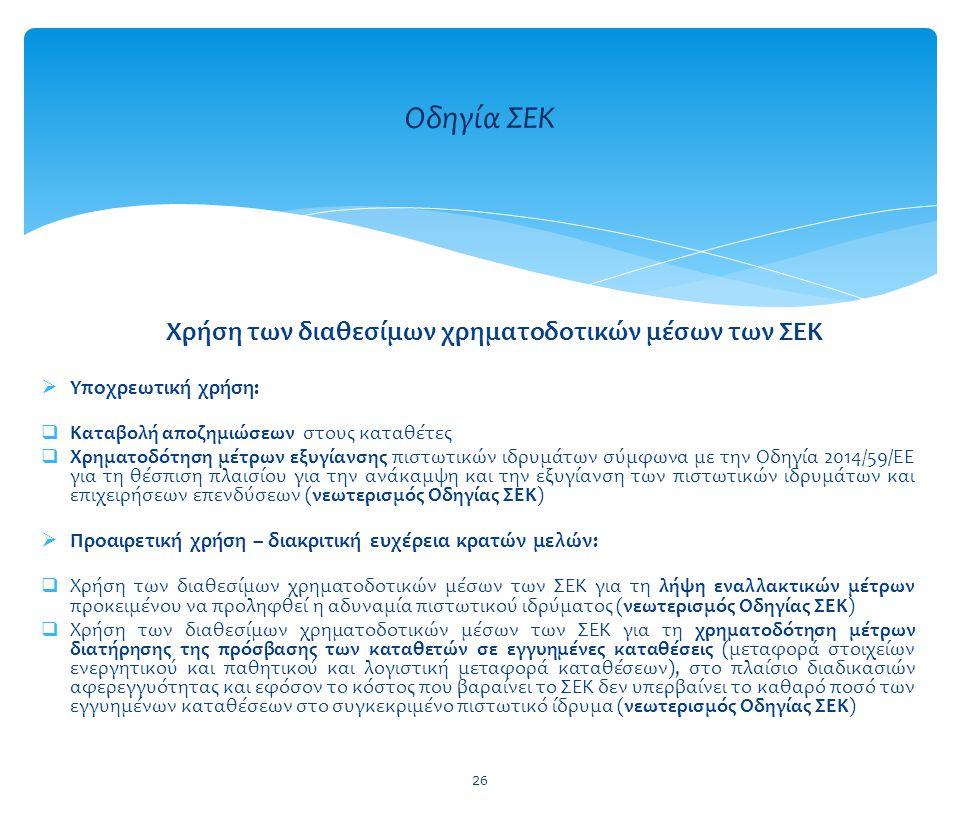  Υποχρεωτική χρήση:  Καταβολή αποζημιώσεων στους καταθέτες  Χρηματοδότηση μέτρων εξυγίανσης πιστωτικών ιδρυμάτων σύμφωνα με την Οδηγία 2014/59/ΕΕ γ
