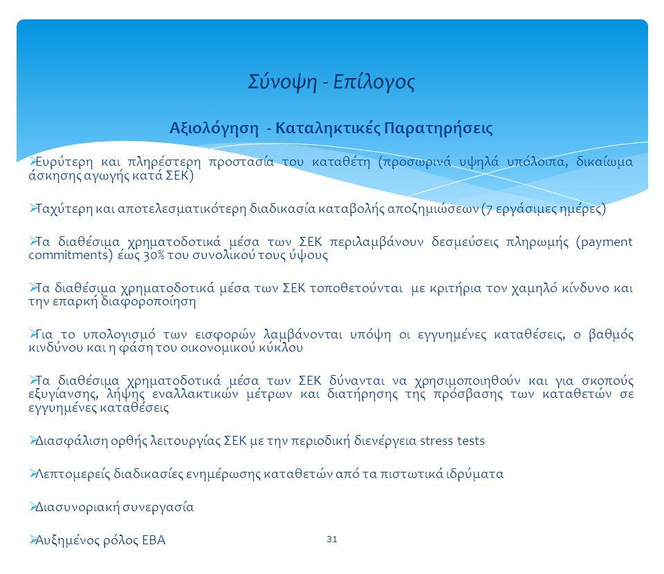 31 Σύνοψη - Επίλογος Αξιολόγηση - Καταληκτικές Παρατηρήσεις  Ευρύτερη και πληρέστερη προστασία του καταθέτη (προσωρινά υψηλά υπόλοιπα, δικαίωμα άσκησ