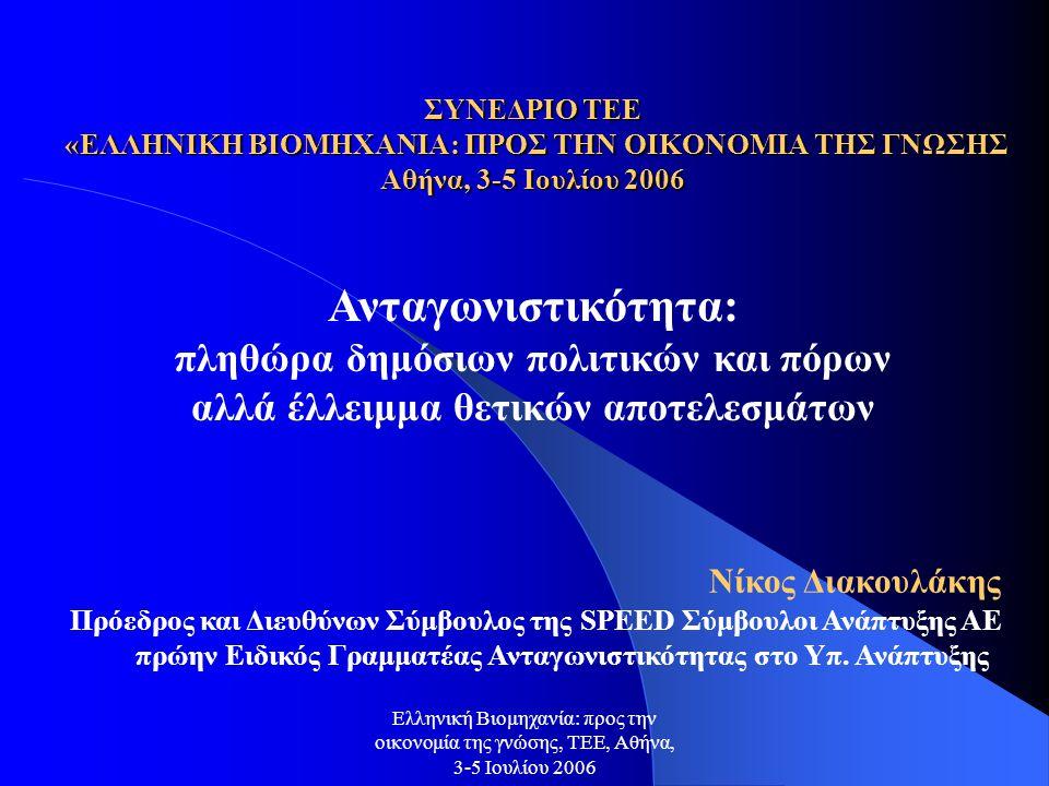 Ελληνική Βιομηχανία: προς την οικονομία της γνώσης, ΤΕΕ, Αθήνα, 3-5 Ιουλίου 2006 δημόσιοι πόροι (εθνικοί + κοινοτικοί) και διαρθρωτικές πολιτικές Η Ελλάδα συνεχίζει να καταγράφει χαμηλό βαθμό ουσιαστικής αξιοποίησης των δημόσιων πόρων στις διαρθρωτικού τύπου παρεμβάσεις που συνδέονται με την επιχειρηματικότητα, την ανταγωνιστικότητα και την απασχόληση (έρευνα-τεχνολογία, καινοτομία, πληροφορική, εισαγωγή νέων τεχνολογιών, δια βίου μάθηση, βελτίωση επιχειρηματικού περιβάλλοντος και παραγωγικών υποδομών) Οι διαρθρωτικές δράσεις είναι μόνιμα θύματα κάθε αναθεώρησης των ΚΠΣ υπέρ των ΄εύκολων΄ λύσεων (συνήθως μικρών έργων όχι πάντα α΄προτεραιότητας και σίγουρα όχι υψηλής προστιθέμενης αξίας και δημιουργίας μόνιμων θέσεων απασχόλησης) για να την άρον-άρον απορρόφηση των πόρων Οι δομές και μηχανισμοί σχεδιασμού και κυρίως εφαρμογής και υποστήριξης πολιτικών με πολλαπλασιαστικά αναπτυξιακά αποτελέσματα παραμένουν αδύνατες
