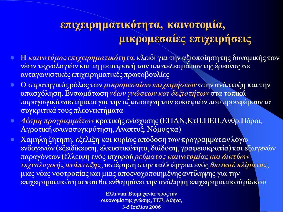 Ελληνική Βιομηχανία: προς την οικονομία της γνώσης, ΤΕΕ, Αθήνα, 3-5 Ιουλίου 2006 επιχειρηματικότητα, καινοτομία, μικρομεσαίες επιχειρήσεις Η καινοτόμος επιχειρηματικότητα, κλειδί για την αξιοποίηση της δυναμικής των νέων τεχνολογιών και τη μετατροπή των αποτελεσμάτων της έρευνας σε ανταγωνιστικές επιχειρηματικές πρωτοβουλίες Ο στρατηγικός ρόλος των μικρομεσαίων επιχειρήσεων στην ανάπτυξη και την απασχόληση.