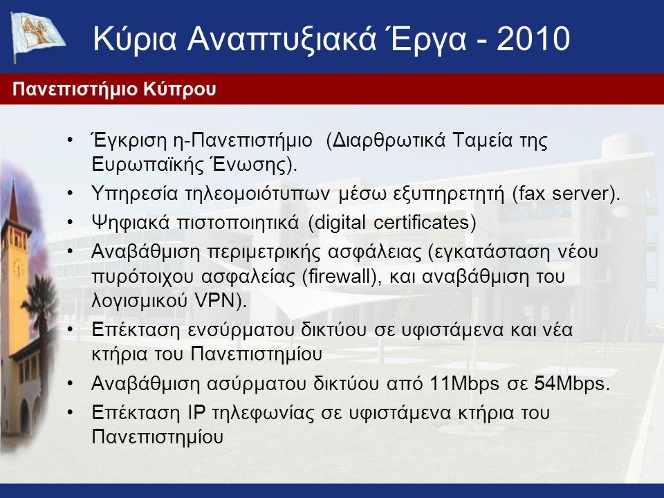 Κύρια Αναπτυξιακά Έργα - 2010 Έγκριση η-Πανεπιστήμιο (Διαρθρωτικά Ταμεία της Ευρωπαϊκής Ένωσης). Υπηρεσία τηλεομοιότυπων μέσω εξυπηρετητή (fax server)