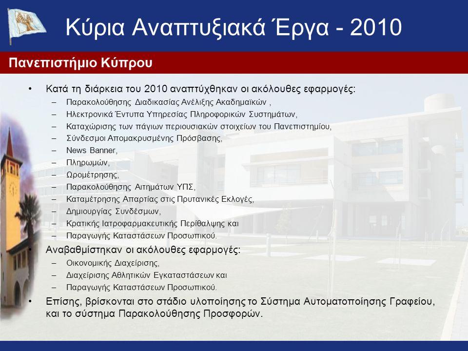 Κύρια Αναπτυξιακά Έργα - 2010 Κατά τη διάρκεια του 2010 αναπτύχθηκαν οι ακόλουθες εφαρμογές: –Παρακολούθησης Διαδικασίας Ανέλιξης Ακαδημαϊκών, –Ηλεκτρονικά Έντυπα Υπηρεσίας Πληροφορικών Συστημάτων, –Καταχώρισης των πάγιων περιουσιακών στοιχείων του Πανεπιστημίου, –Σύνδεσμοι Απομακρυσμένης Πρόσβασης, –News Banner, –Πληρωμών, –Ωρομέτρησης, –Παρακολούθησης Αιτημάτων ΥΠΣ, –Καταμέτρησης Απαρτίας στις Πρυτανικές Εκλογές, –Δημιουργίας Συνδέσμων, –Κρατικής Ιατροφαρμακευτικής Περίθαλψης και –Παραγωγής Καταστάσεων Προσωπικού.