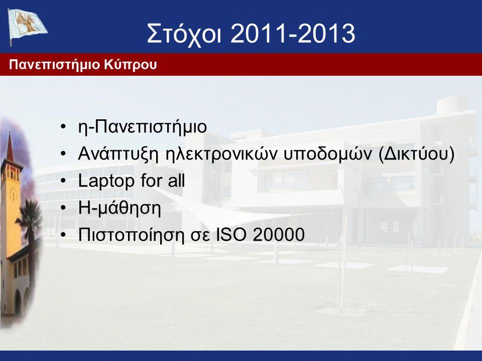 Στόχοι 2011-2013 η-Πανεπιστήμιο Ανάπτυξη ηλεκτρονικών υποδομών (Δικτύου) Laptop for all Η-μάθηση Πιστοποίηση σε ISO 20000