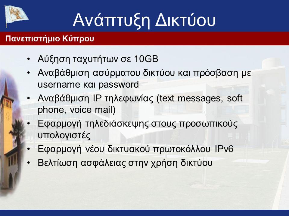 Ανάπτυξη Δικτύου Αύξηση ταχυτήτων σε 10GB Αναβάθμιση ασύρματου δικτύου και πρόσβαση με username και password Αναβάθμιση IP τηλεφωνίας (text messages, soft phone, voice mail) Εφαρμογή τηλεδιάσκεψης στους προσωπικούς υπολογιστές Εφαρμογή νέου δικτυακού πρωτοκόλλου IPv6 Βελτίωση ασφάλειας στην χρήση δικτύου