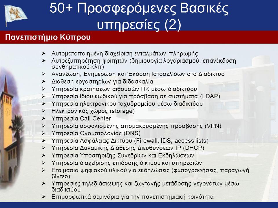 50+ Προσφερόμενες Βασικές υπηρεσίες (2)  Αυτοματοποιημένη διαχείριση ενταλμάτων πληρωμής  Αυτοεξυπηρέτηση φοιτητών (δημιουργία λογαριασμού, επανέκδοση συνθηματικού κλπ)  Ανανέωση, Ενημέρωση και Έκδοση Ιστοσελίδων στο Διαδίκτυο  Διάθεση εργαστηρίων για διδασκαλία  Υπηρεσία κρατήσεων αιθουσών ΠΚ μέσω διαδικτύου  Υπηρεσία ίδιου κωδικού για πρόσβαση σε συστήματα (LDAP)  Υπηρεσία ηλεκτρονικού ταχυδρομείου μέσω διαδικτύου  Ηλεκτρονικός χώρος (storage)  Υπηρεσία Call Center  Υπηρεσία ασφαλισμένης απομακρυσμένης πρόσβασης (VPN)  Υπηρεσία Ονοματολογίας (DNS)  Υπηρεσία Ασφάλειας Δικτύου (Firewall, IDS, access lists)  Υπηρεσία Δυναμικής Διάθεσης Διευθύνσεων IP (DHCP)  Υπηρεσία Υποστήριξης Συνεδρίων και Εκδηλώσεων  Υπηρεσία διαχείρισης επίδοσης δικτύου και υπηρεσιών  Ετοιμασία ψηφιακού υλικού για εκδηλώσεις (φωτογραφήσεις, παραγωγή βίντεο)  Υπηρεσίες τηλεδιάσκεψης και ζωντανής μετάδοσης γεγονότων μέσω διαδικτύου  Επιμορφωτικά σεμινάρια για την πανεπιστημιακή κοινότητα