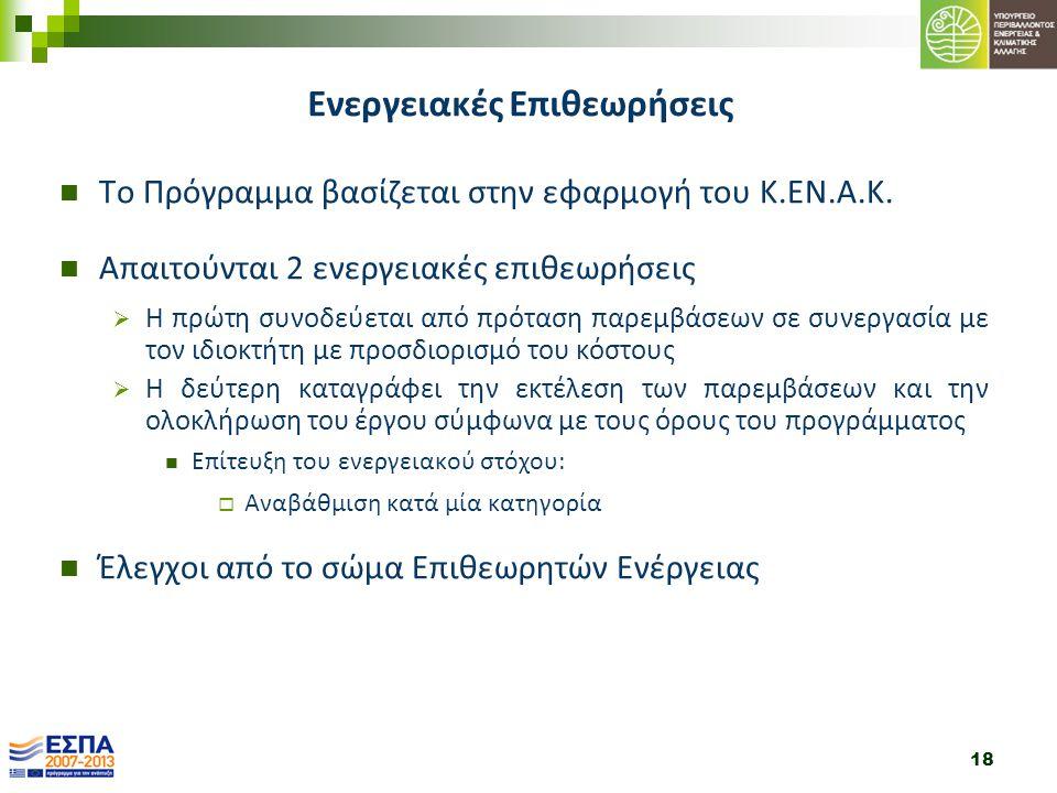 18 Το Πρόγραμμα βασίζεται στην εφαρμογή του Κ.ΕΝ.Α.Κ. Απαιτούνται 2 ενεργειακές επιθεωρήσεις  Η πρώτη συνοδεύεται από πρόταση παρεμβάσεων σε συνεργασ