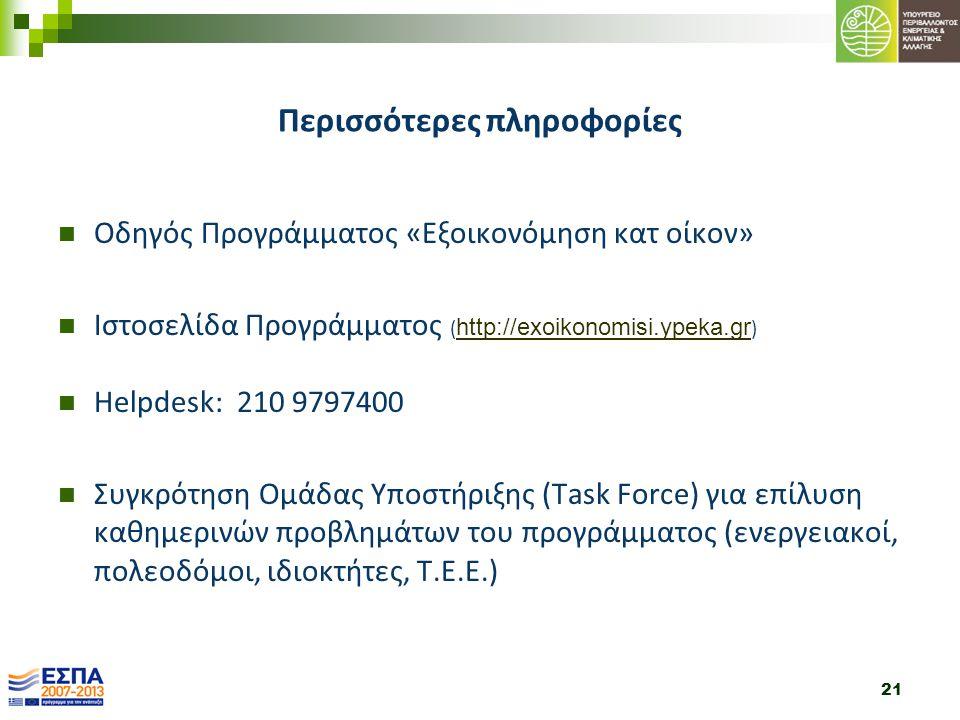 21 Περισσότερες πληροφορίες Οδηγός Προγράμματος «Εξοικονόμηση κατ οίκον» Ιστοσελίδα Προγράμματος ( http://exoikonomisi.ypeka.gr ) http://exoikonomisi.ypeka.gr Helpdesk: 210 9797400 Συγκρότηση Ομάδας Υποστήριξης (Task Force) για επίλυση καθημερινών προβλημάτων του προγράμματος (ενεργειακοί, πολεοδόμοι, ιδιοκτήτες, Τ.Ε.Ε.)