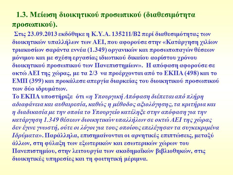 1.3. Μείωση διοικητικού προσωπικού (διαθεσιμότητα προσωπικού). Στις 23.09.2013 εκδόθηκε η Κ.Υ.Α. 135211/Β2 περί διαθεσιμότητας των διοικητικών υπαλλήλ