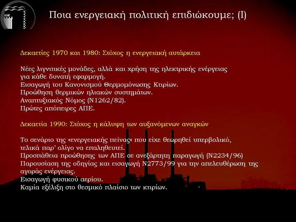 Ποια ενεργειακή πολιτική επιδιώκουμε; (Ι) Δεκαετίες 1970 και 1980: Στόχος η ενεργειακή αυτάρκεια Νέες λιγνιτικές μονάδες, αλλά και χρήση της ηλεκτρικής ενέργειας για κάθε δυνατή εφαρμογή.