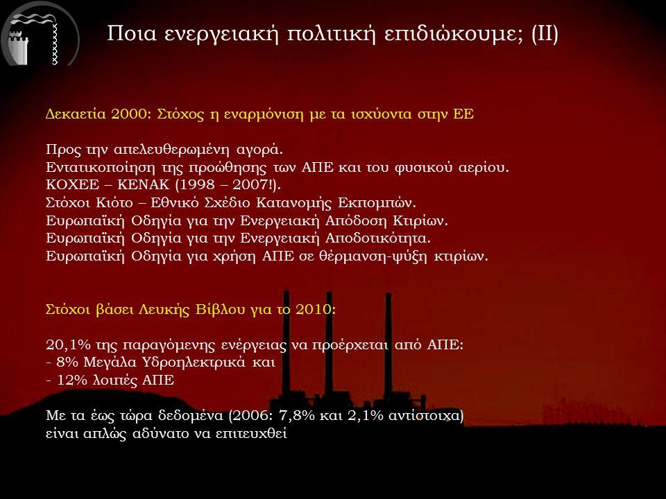 Ποια ενεργειακή πολιτική επιδιώκουμε; (ΙΙ) Δεκαετία 2000: Στόχος η εναρμόνιση με τα ισχύοντα στην ΕΕ Προς την απελευθερωμένη αγορά.