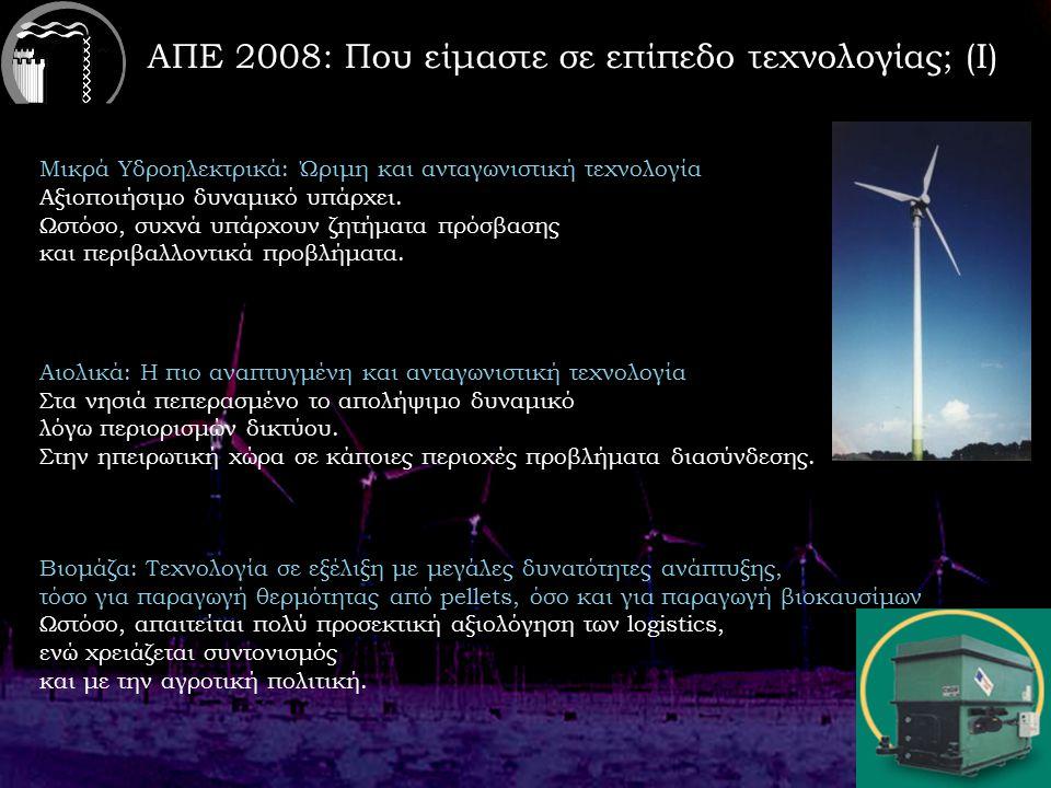 ΑΠΕ 2008: Που είμαστε σε επίπεδο τεχνολογίας; (Ι) Μικρά Υδροηλεκτρικά: Ώριμη και ανταγωνιστική τεχνολογία Αξιοποιήσιμο δυναμικό υπάρχει.