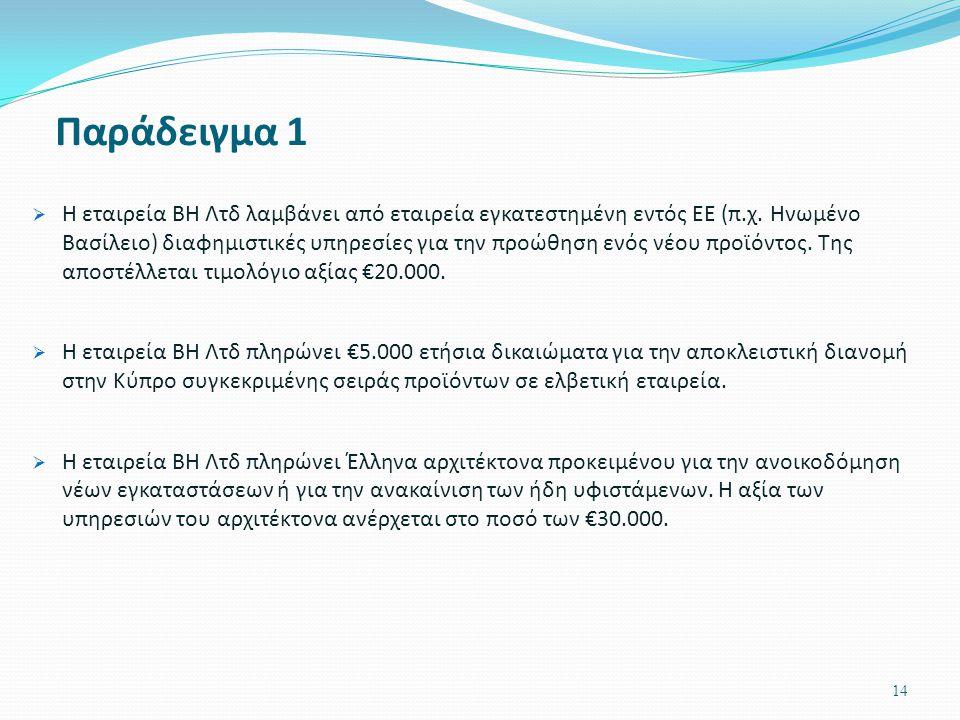 14 Παράδειγμα 1  Η εταιρεία ΒΗ Λτδ λαμβάνει από εταιρεία εγκατεστημένη εντός ΕΕ (π.χ. Ηνωμένο Βασίλειο) διαφημιστικές υπηρεσίες για την προώθηση ενός