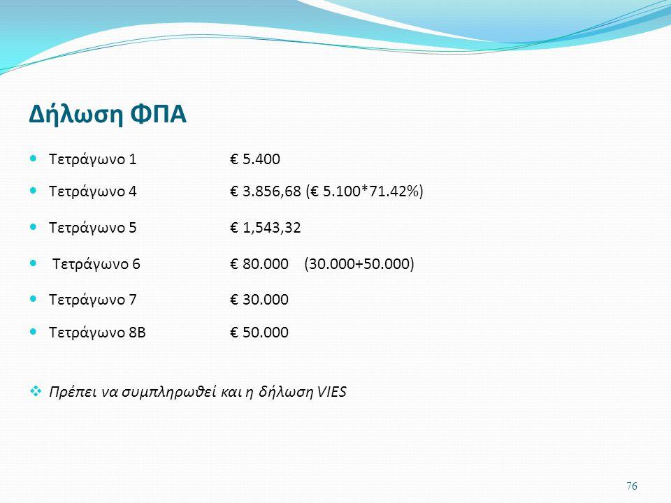 Δήλωση ΦΠΑ Τετράγωνο 1 € 5.400 Τετράγωνο 4 € 3.856,68 (€ 5.100*71.42%) Τετράγωνο 5 € 1,543,32 Τετράγωνο 6€ 80.000 (30.000+50.000) Τετράγωνο 7 € 30.000
