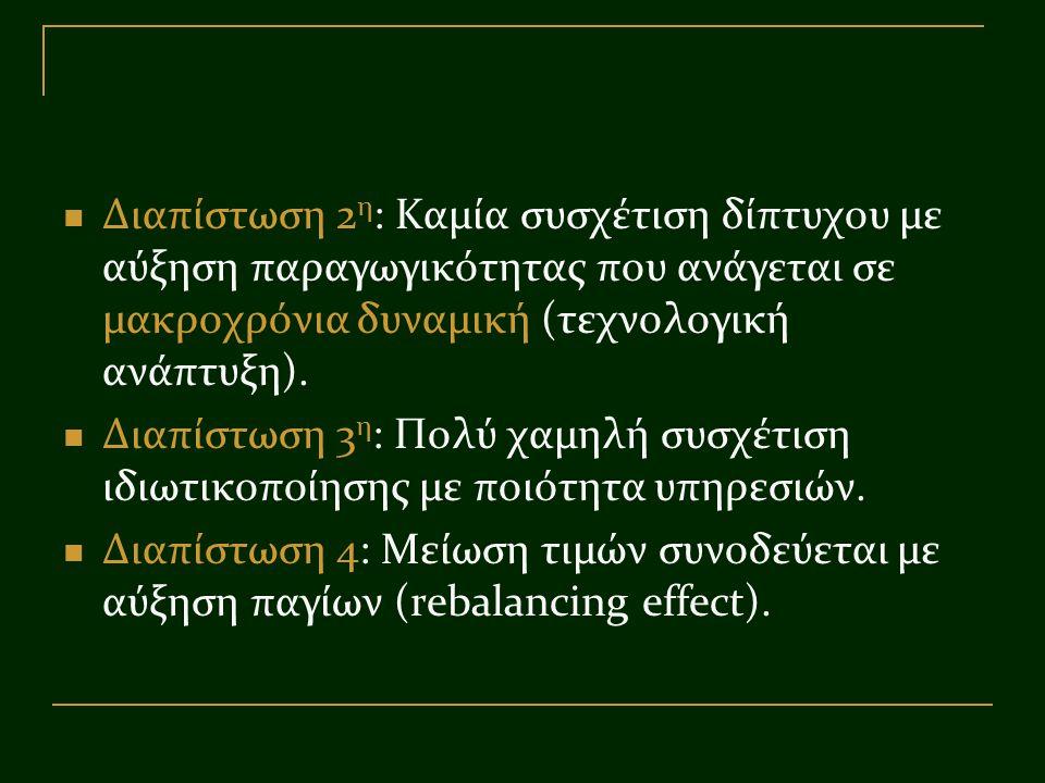 Διαπίστωση 2 η : Καμία συσχέτιση δίπτυχου με αύξηση παραγωγικότητας που ανάγεται σε μακροχρόνια δυναμική (τεχνολογική ανάπτυξη). Διαπίστωση 3 η : Πολύ