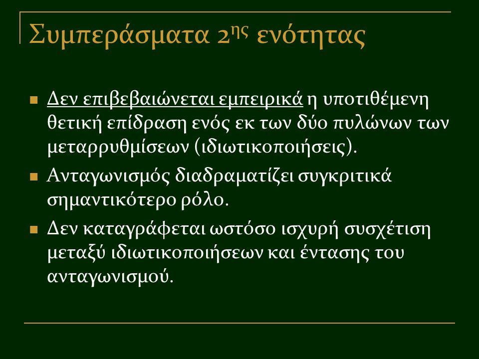 Συμπεράσματα 2 ης ενότητας Δεν επιβεβαιώνεται εμπειρικά η υποτιθέμενη θετική επίδραση ενός εκ των δύο πυλώνων των μεταρρυθμίσεων (ιδιωτικοποιήσεις). Α