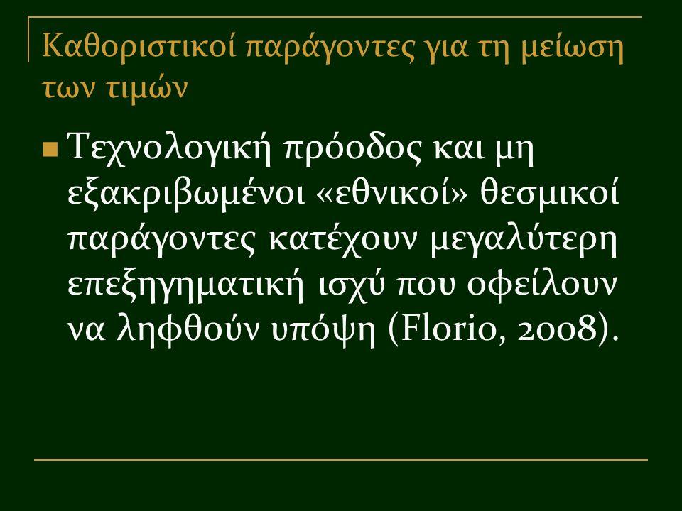 Καθοριστικοί παράγοντες για τη μείωση των τιμών Τεχνολογική πρόοδος και μη εξακριβωμένοι «εθνικοί» θεσμικοί παράγοντες κατέχουν μεγαλύτερη επεξηγηματική ισχύ που οφείλουν να ληφθούν υπόψη (Florio, 2008).