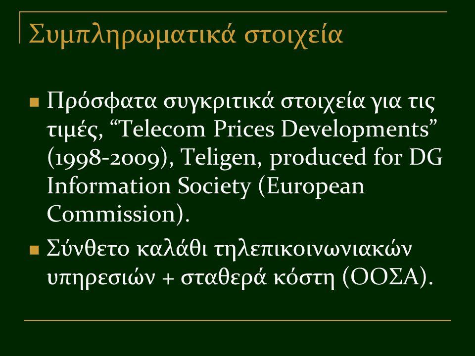 """Συμπληρωματικά στοιχεία Πρόσφατα συγκριτικά στοιχεία για τις τιμές, """"Telecom Prices Developments"""" (1998-2009), Teligen, produced for DG Information So"""