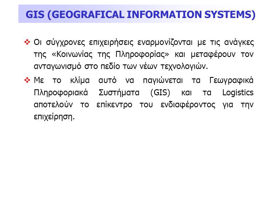 GIS (GEOGRAFICAL INFORMATION SYSTEMS)  Οι σύγχρονες επιχειρήσεις εναρμονίζονται με τις ανάγκες της «Κοινωνίας της Πληροφορίας» και μεταφέρουν τον αντ