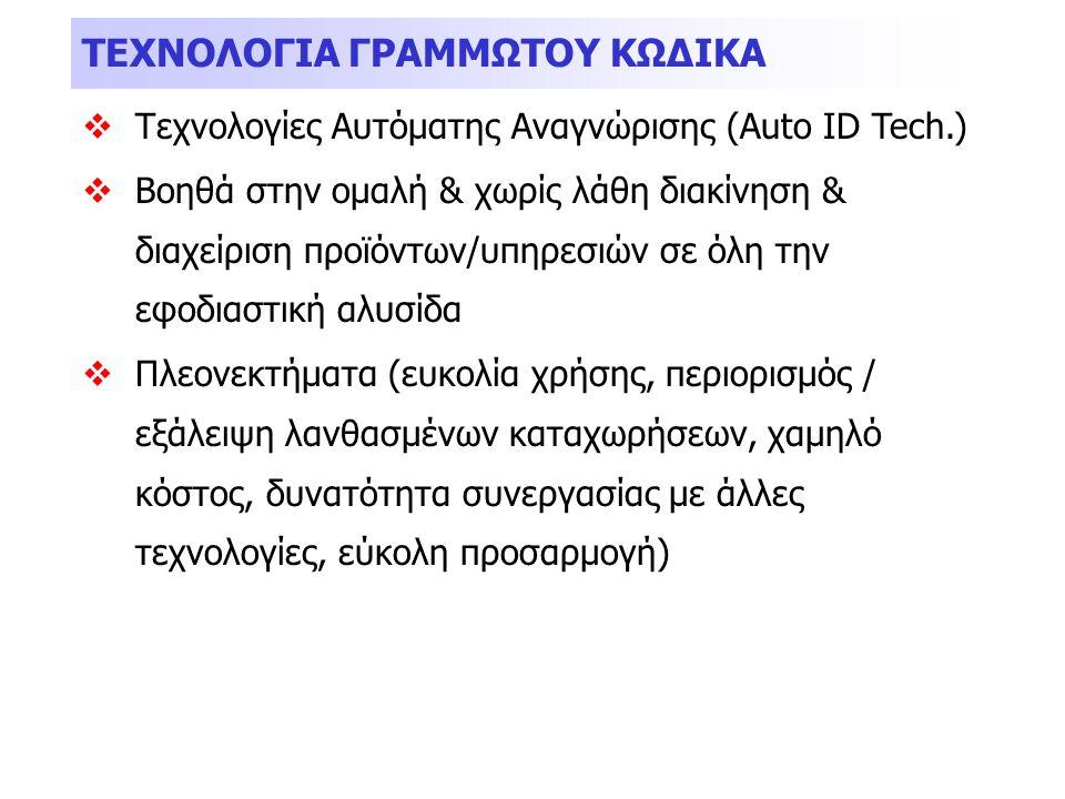 ΤΕΧΝΟΛΟΓΙΑ ΓΡΑΜΜΩΤΟΥ ΚΩΔΙΚΑ  Τεχνολογίες Αυτόματης Αναγνώρισης (Auto ID Tech.)  Βοηθά στην ομαλή & χωρίς λάθη διακίνηση & διαχείριση προϊόντων/υπηρε