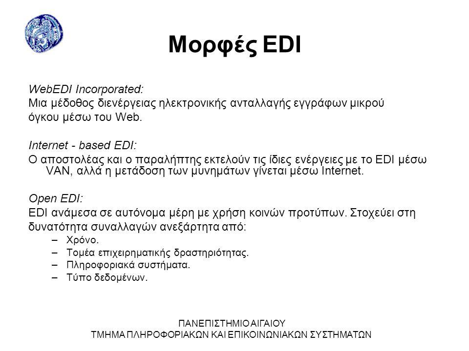 ΠΑΝΕΠΙΣΤΗΜΙΟ ΑΙΓΑΙΟΥ ΤΜΗΜΑ ΠΛΗΡΟΦΟΡΙΑΚΩΝ ΚΑΙ ΕΠΙΚΟΙΝΩΝΙΑΚΩΝ ΣΥΣΤΗΜΑΤΩΝ Μορφές EDI WebEDI Incorporated: Μια µέδοθος διενέργειας ηλεκτρονικής ανταλλαγής εγγράφων µικρού όγκου µέσω του Web.