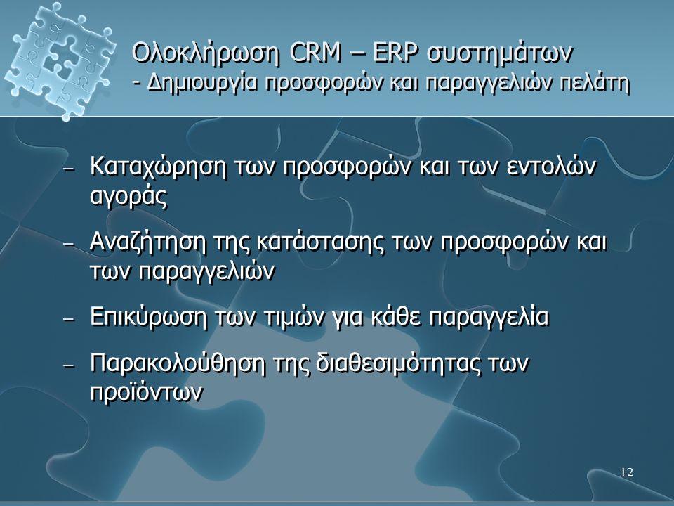 12 Ολοκλήρωση CRM – ERP συστημάτων - Δημιουργία προσφορών και παραγγελιών πελάτη – Καταχώρηση των προσφορών και των εντολών αγοράς – Αναζήτηση της κατάστασης των προσφορών και των παραγγελιών – Επικύρωση των τιμών για κάθε παραγγελία – Παρακολούθηση της διαθεσιμότητας των προϊόντων – Καταχώρηση των προσφορών και των εντολών αγοράς – Αναζήτηση της κατάστασης των προσφορών και των παραγγελιών – Επικύρωση των τιμών για κάθε παραγγελία – Παρακολούθηση της διαθεσιμότητας των προϊόντων