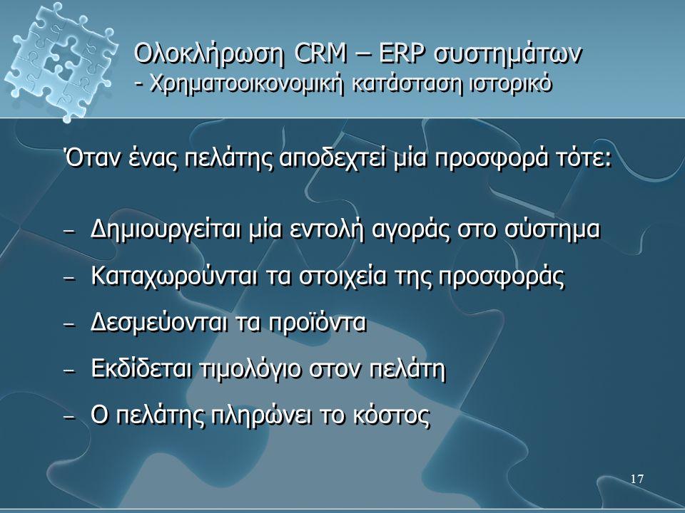 17 Ολοκλήρωση CRM – ERP συστημάτων - Χρηματοοικονομική κατάσταση ιστορικό Όταν ένας πελάτης αποδεχτεί μία προσφορά τότε: – Δημιουργείται μία εντολή αγοράς στο σύστημα – Καταχωρούνται τα στοιχεία της προσφοράς – Δεσμεύονται τα προϊόντα – Εκδίδεται τιμολόγιο στον πελάτη – Ο πελάτης πληρώνει το κόστος Όταν ένας πελάτης αποδεχτεί μία προσφορά τότε: – Δημιουργείται μία εντολή αγοράς στο σύστημα – Καταχωρούνται τα στοιχεία της προσφοράς – Δεσμεύονται τα προϊόντα – Εκδίδεται τιμολόγιο στον πελάτη – Ο πελάτης πληρώνει το κόστος