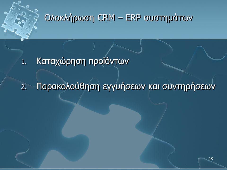 19 Ολοκλήρωση CRM – ERP συστημάτων 1. Καταχώρηση προϊόντων 2.