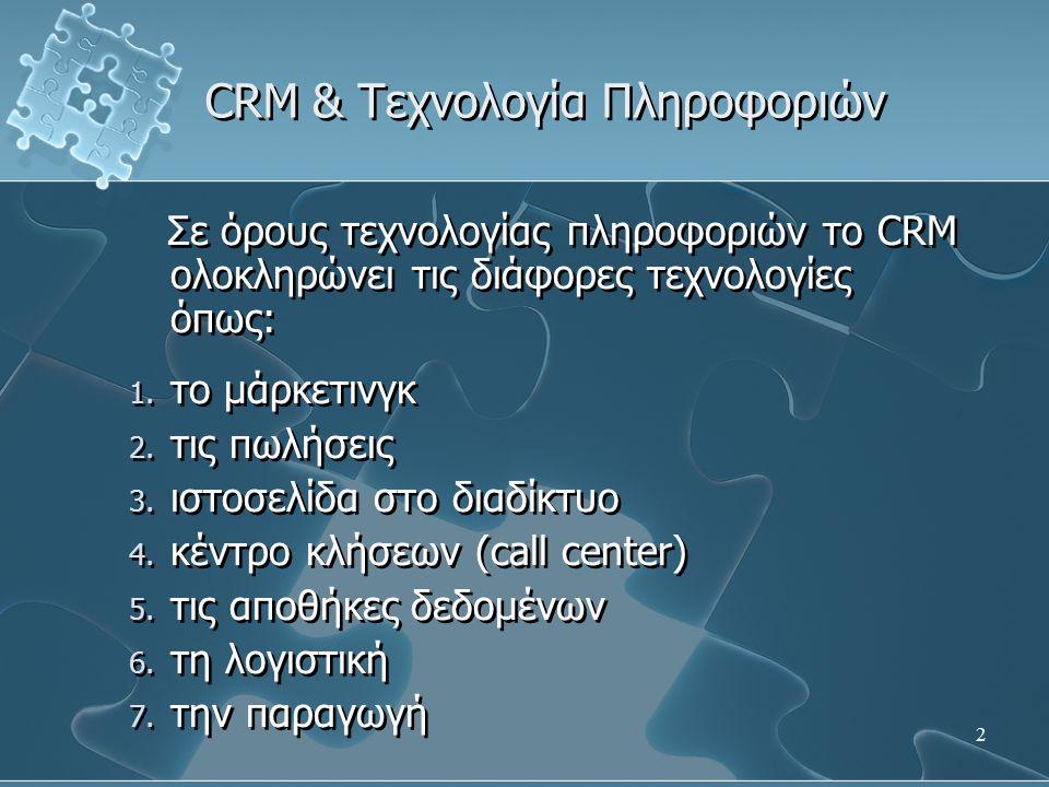 3 CRM & Τεχνολογία Πληροφοριών Με την τεχνολογία υποστηρίζεται η διαχείριση των δεδομένων των πελατών που είναι απαραίτητη: 1.