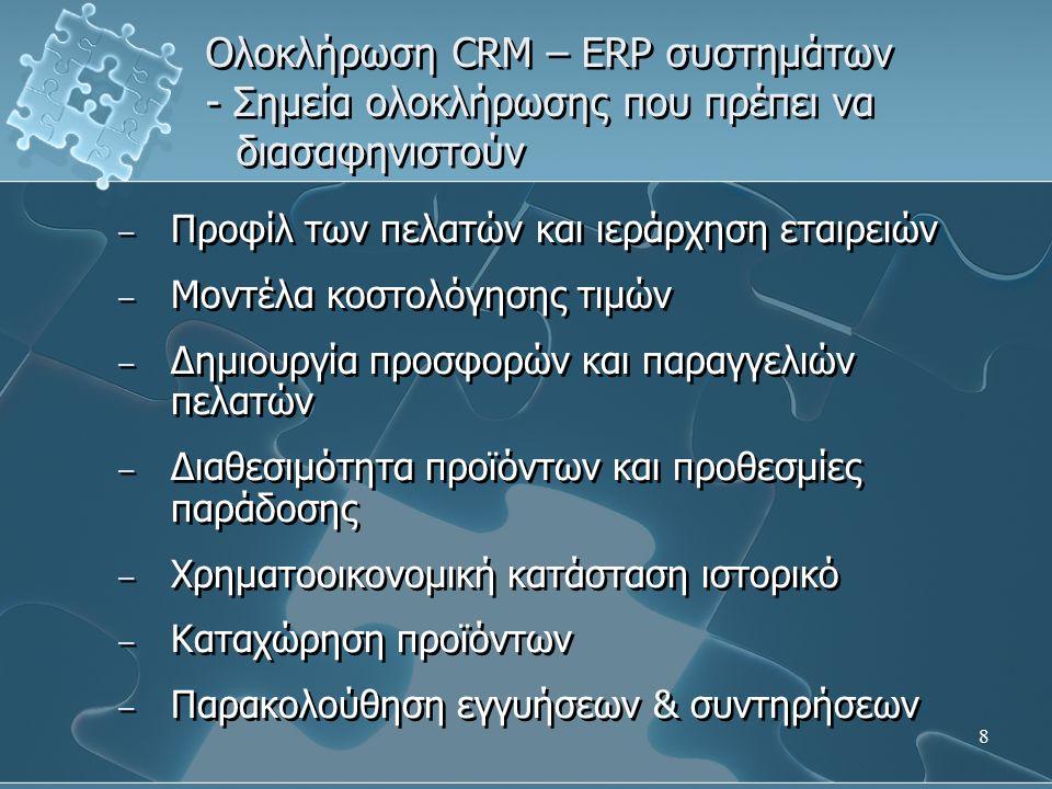 19 Ολοκλήρωση CRM – ERP συστημάτων 1.Καταχώρηση προϊόντων 2.
