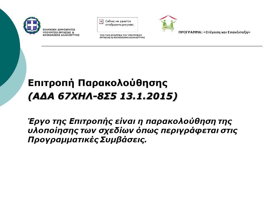 Επιτροπή Παρακολούθησης (ΑΔΑ 67ΧΗΛ-8Σ5 13.1.2015) Έργο της Επιτροπής είναι η παρακολούθηση της υλοποίησης των σχεδίων όπως περιγράφεται στις Προγραμμα