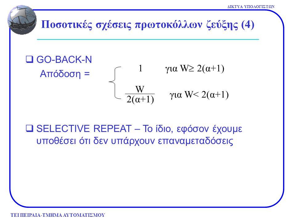 ΤΕΙ ΠΕΙΡΑΙΑ-ΤΜΗΜΑ ΑΥΤΟΜΑΤΙΣΜΟΥ ΔΙΚΤΥΑ ΥΠΟΛΟΓΙΣΤΩΝ  GO-BACK-N Απόδοση = 1 για W  2(α+1) για W< 2(α+1) W 2(α+1)  SELECTIVE REPEAT – Το ίδιο, εφόσον έ