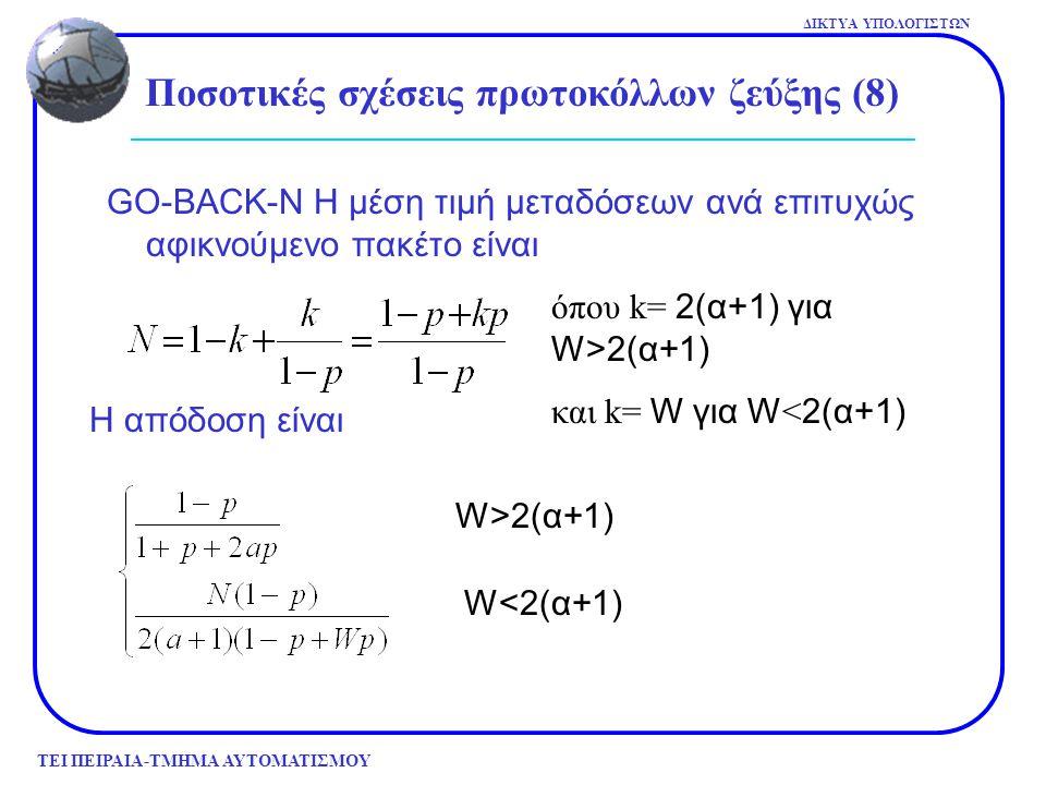 ΤΕΙ ΠΕΙΡΑΙΑ-ΤΜΗΜΑ ΑΥΤΟΜΑΤΙΣΜΟΥ ΔΙΚΤΥΑ ΥΠΟΛΟΓΙΣΤΩΝ GO-BACK-N Η μέση τιμή μεταδόσεων ανά επιτυχώς αφικνούμενο πακέτο είναι W>2(α+1) W<2(α+1) Ποσοτικές σ