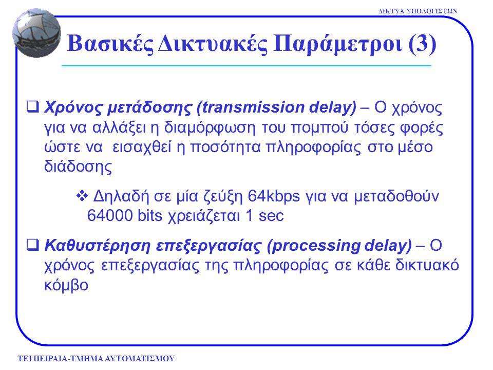 ΤΕΙ ΠΕΙΡΑΙΑ-ΤΜΗΜΑ ΑΥΤΟΜΑΤΙΣΜΟΥ ΔΙΚΤΥΑ ΥΠΟΛΟΓΙΣΤΩΝ Βασικές Δικτυακές Παράμετροι (3)  Χρόνος μετάδοσης (transmission delay) – Ο χρόνος για να αλλάξει η