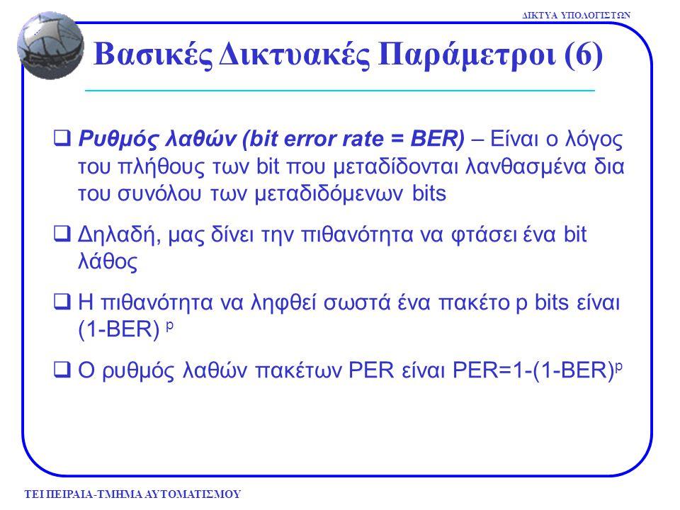 ΤΕΙ ΠΕΙΡΑΙΑ-ΤΜΗΜΑ ΑΥΤΟΜΑΤΙΣΜΟΥ ΔΙΚΤΥΑ ΥΠΟΛΟΓΙΣΤΩΝ Βασικές Δικτυακές Παράμετροι (6)  Ρυθμός λαθών (bit error rate = BER) – Είναι ο λόγος του πλήθους τ