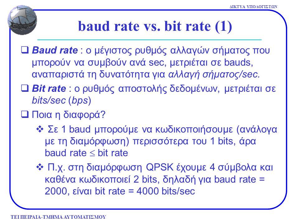 ΤΕΙ ΠΕΙΡΑΙΑ-ΤΜΗΜΑ ΑΥΤΟΜΑΤΙΣΜΟΥ ΔΙΚΤΥΑ ΥΠΟΛΟΓΙΣΤΩΝ  Baud rate : ο μέγιστος ρυθμός αλλαγών σήματος που μπορούν να συμβούν ανά sec, μετριέται σε bauds,